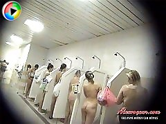 4 movies - A lot of very sex appeal amateur girls are washing their bodies getting taped on voyeur cam